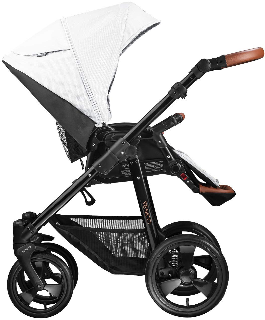 Venicci Gusto 2-in-1 - Ecru Travel System Venicci Also includes: Changing bag, Apron, Rain cover, Mosquito Net, Cup holder Carrycot: L 102cm W 61cm H 112 cm Age suitability: From birth to 6 months Seat unit: L 95cm W 61cm H 112cm Age suitability: From 7 to 36 months 3