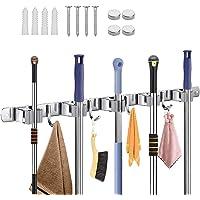 Wall Broom Holder, Wall Mount Broom Holder Avec 5 Positions Et 4 Crochets, Inox Mop Holder Wall Mounted, Salle De Bain…