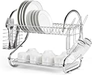 Rubik Dish Drying Rack, 2 Tier Stainless Steel Dish Rack with Utensil Holder, Glass, Cup, Cutlery Holder, and Dish Drainer fo