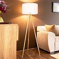 Jago® Lampadaire Trépied - CEE: A++ à E, LED, en Bois, Taille 145 cm, Ø45cm, E27 max. 60 W, Abat-Jour Blanc, Style…