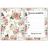 Party inbjudningar – vintage rosor – 24 x A6 vykort storlek kort – passar för alla fester. Med kuvert grön