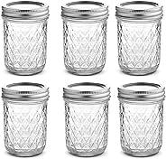 Womdee Clear Glass Mason Jars Set,250ml/500ml Wide Mouth Mason Jars with Airtight Lid, Fashion Canning Jars for Jam, Dressing