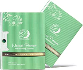 Natural Green Tea Oil Absorbing Tissues - 200 Counts in 2 Pack, Premium Face Oil Blotting Paper - Take 1 Piece Each Time Design - Large 10CM Oil Absorbing Sheets, No Waste and Easy to Carry in Pocket! by PleasingCare