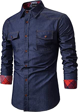YCUEUST Men's Casual Denim Button Down Long Sleeve Work Shirts