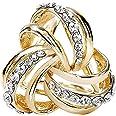 CAREOR, Fermaglio a triplo anello in metallo con diamante per sciarpa da donna, foulard di seta e chiffon, design elegante, m