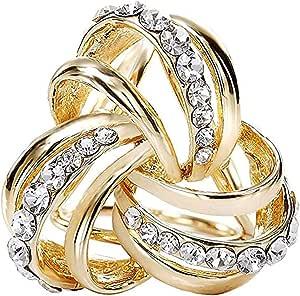 CAREOR, Fermaglio a triplo anello in metallo con diamante per sciarpa da donna, foulard di seta e chiffon, design elegante, moderno e semplice