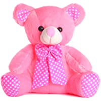DI Deals India Pink Bow Teddy Bear Soft Toy- 35 cm, Pink