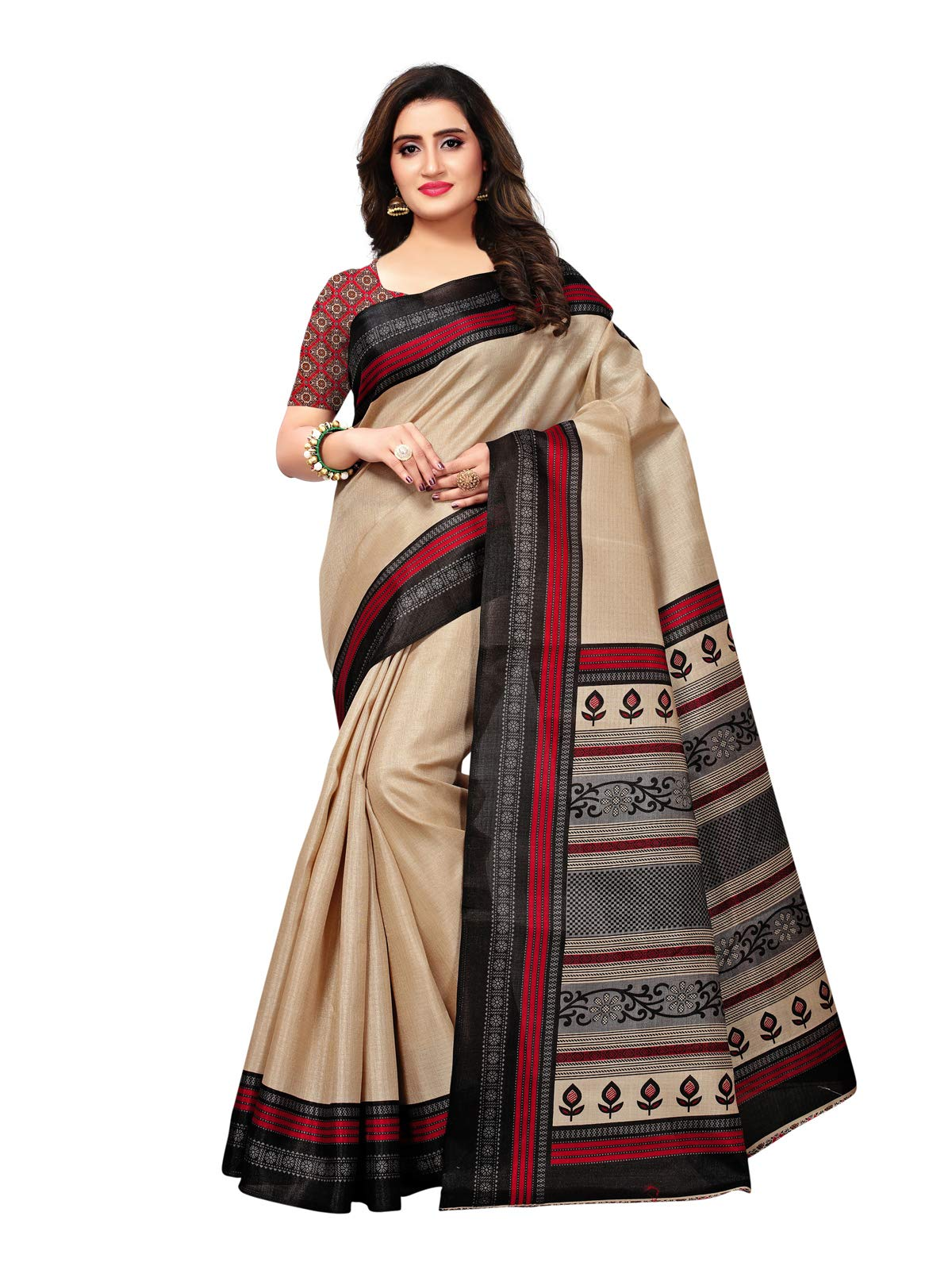 Kanchnar Women's Art Silk Printed Casual Wear Saree