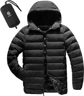 LAPASA Men's Lightweight Water-Resistant Down Jacket Breathable Windproof Packable Hooded M54