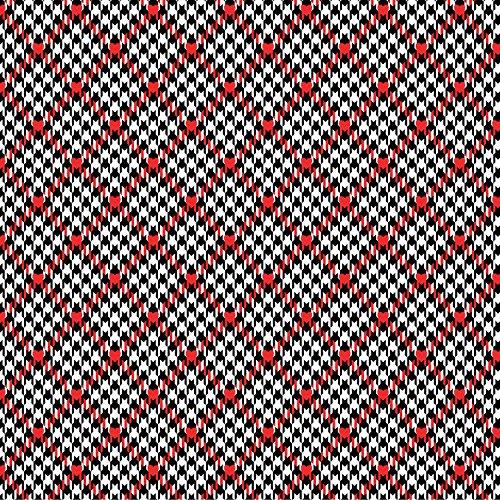 Scottie Hund Stoff-Houndstooth von benartex rot kariert weiß schwarz-ben197-von 0,5m-Herzen-100% Baumwolle (Hahnentritt Herzen rot kariert weiß schwarz ben197) -