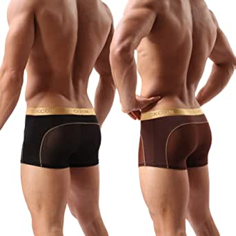 Laxier 2 Pack Men Boxer Briefs Shorts Soft Underpants See-Through Transparent Sexy Underwear Trunk for Man