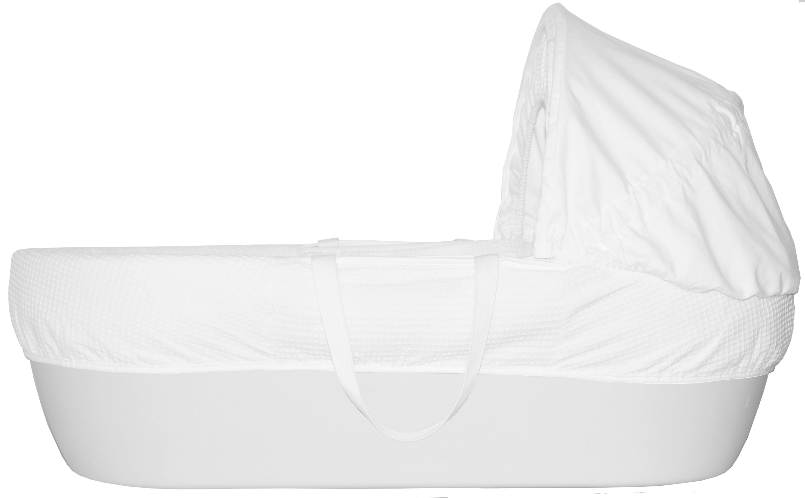 Shnuggle Moses Basket with White Waffle Cotton Dressing, Hood and Mattress - White Basket  Shnuggle Classic Moses Basket with stay up hood Hypoallergenic and easy to clean Super strong and long lasting 2