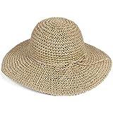 HugeStore - Elegante cappello parasole di paglia, da donna, a tesa larga, flessibile e pieghevole, adatto per l'estate e la s