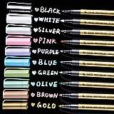 Ohuhu Premium Metallic Marker Pens Fine Tip, Set of 10 Glitter Paint Pen Window Marker for DIY Card Making, Coloring Books, S