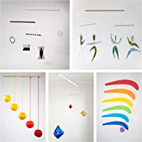 Set of 5 Montessori inspired mobiles - Black and white mobile, Orange Gobbi, Dancers, Octahedron, Rainbow. Montessori…
