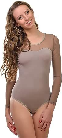 Donna Krisli body a maniche lunghe con maniche in tulle Tulle dekol Tee Brazillian Slip