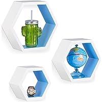 Relaxdays 10021897_361 Étagère flottante suspendue lot de 3 cubes support mural meuble rangement bois, blanc-bleu, MDF…