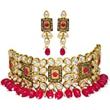 Aashish Imitation Women's Gold Plated Non-Precious Metal Gold Plated and Kundan Choker Necklace Set (Red)