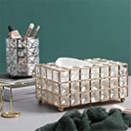 European Style Crystal Tissue Box Cover, Creative Tissue Holders, Facial Tissue Dispenser for Bathroom, Vanity Countertops, Bedroom Dressers, Night Stands, Desks