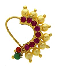 Meenaz Jewellery Traditional Maharashtrian Banu Nath Nose Ring Pink Colour Stone Gold Plated Along with Pearl Beads for Women and Girl Nose Ring-123
