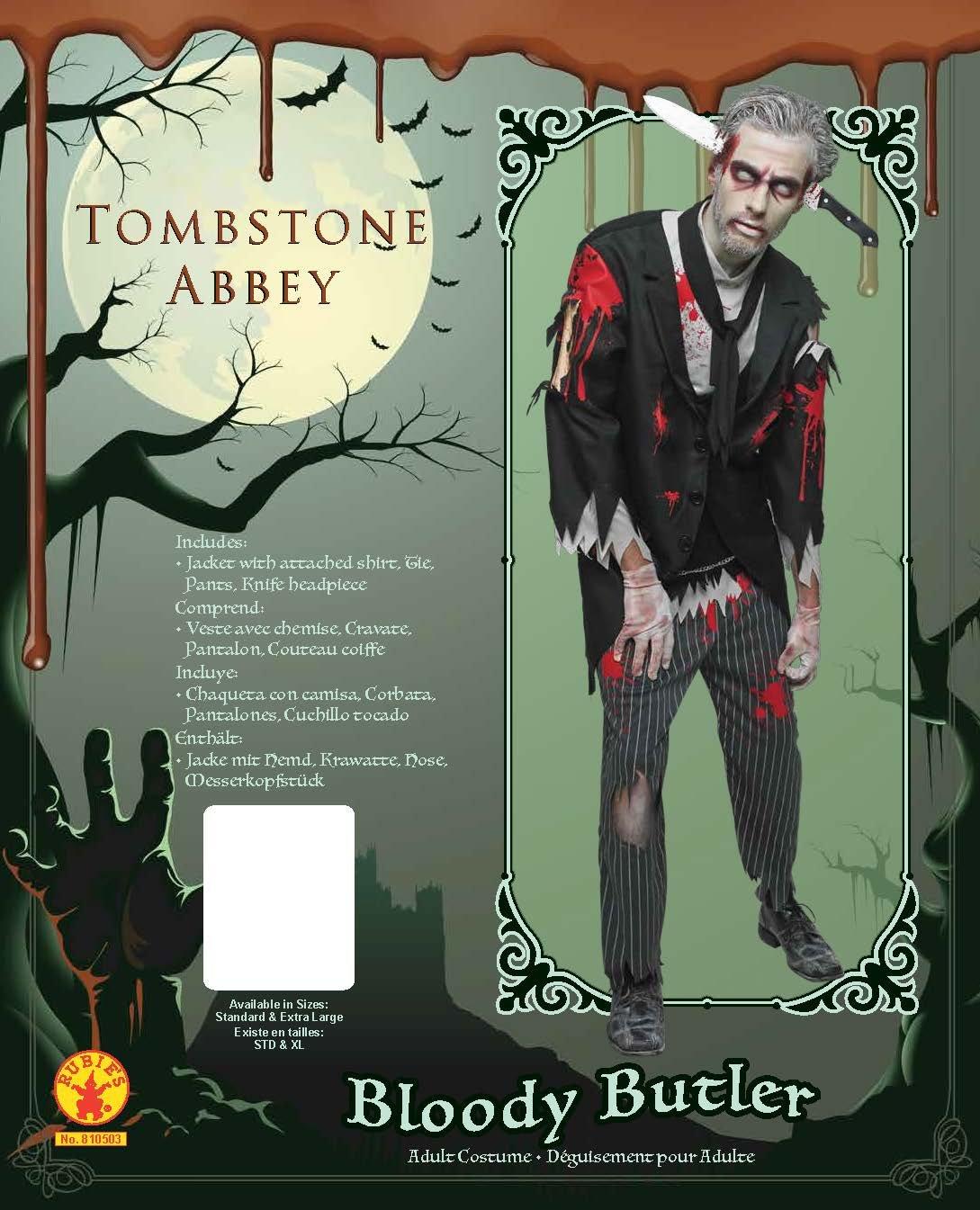 Bloody Zombie Butler, Herren Kostüm, Halloween, Horror, Erwachsene, Kostüm, Outfit, Mehrfarbig, XL