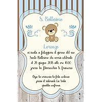 Biglietti Inviti battesimo personalizzati orsetto - partecipazioni battesimo legno bimbo bimba azzurro rosa set da 10…
