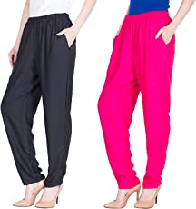 Dada Shopy Comfort Fit Rayon Cotton Pant Palazzo for Women combo 2