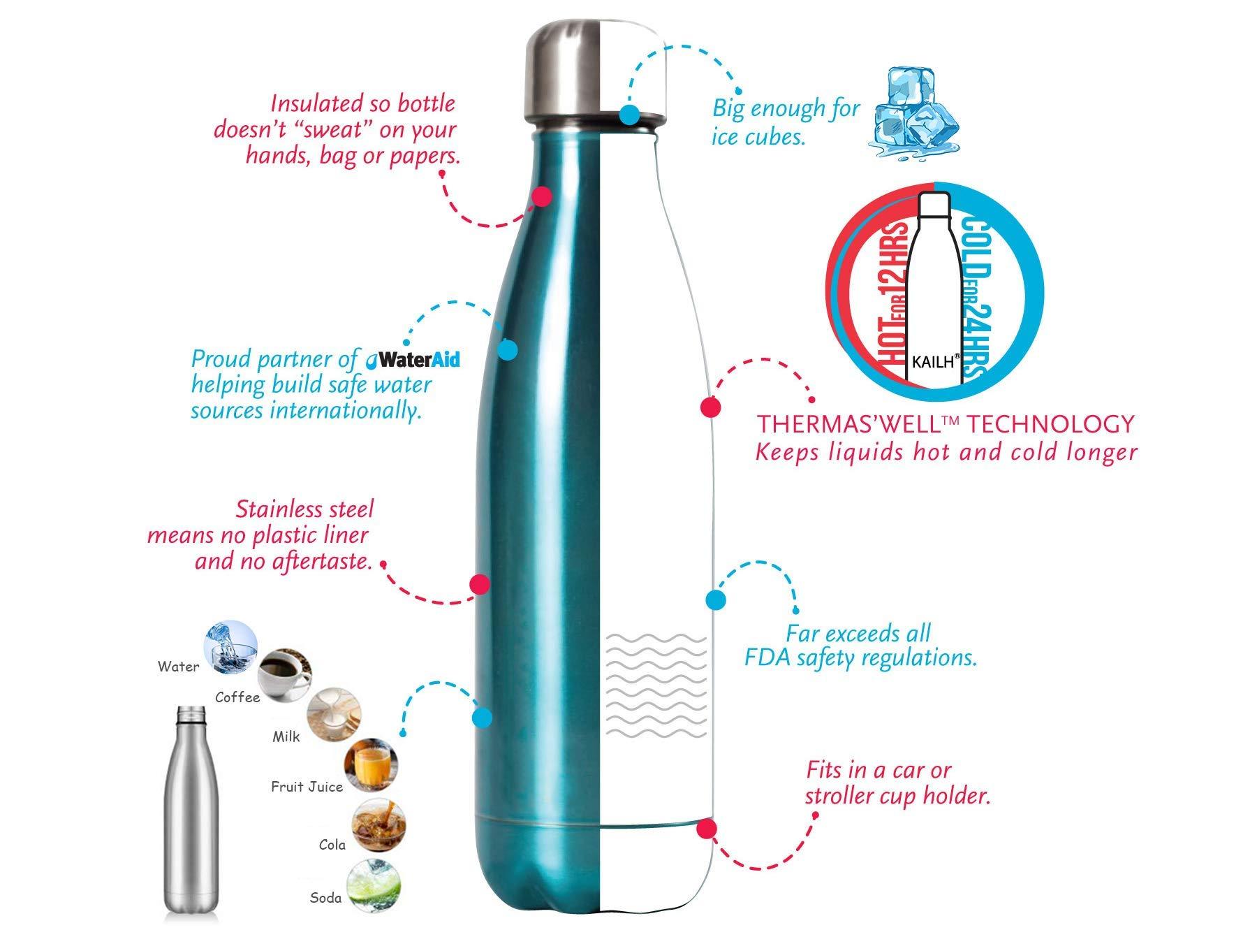 Scuola Resistente ai Graffi Ufficio BPS Yoga Facile da Pulire Ftalati Palestra KAILH Borraccia Termica Inox Bottiglia Termica per Bambini Sport Privo di BPA