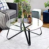 Table Basse en Verre Trempé,Table de Salon,Table de Canapé Minimaliste Moderne,Table D'appoint Ronde,avec Grand Plateau,Prote
