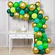 PartyWoo Ballon Vert Or, 70 pcs 12 Pouces Ballon Vert, Ballon Doré, Ballon Vert Jaune, Ballon Vert Clair, Ballon Vert Foncé,