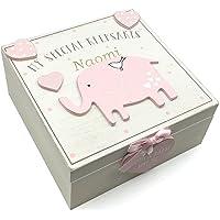 Personalised Baby Girl Wooden Memories Keepsake Box Vintage Style