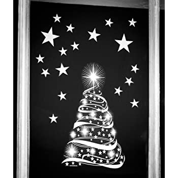 Stickers4 Star Tree Stars Window Cling Stickers - Seasonal Christmas Window Decorations