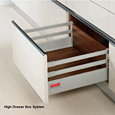 Pro Tec Drawer Box System High Square Rail Concealed Full Extn. 40Kg Dynamic Load Capacity Silver Grey Finish 550mm Length 22In