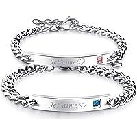 Flongo 2PCS Bracelets Acier Inoxydable Je T'Aime Chaînes de Main pour Couples Amoureux Femme Homme Couleur Argent…