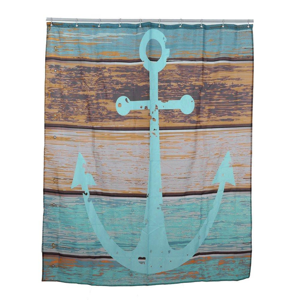 aihome maritim anker stoff badezimmer dusche vorhang liner polyester wasserdicht mit 12 haken polyester b amazonde kche haushalt - Stoff Vorhang Dusche