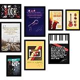 FATMUG Glass Music Framed Painting, Multicolour, Digital Art, Set of 8