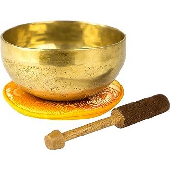 Traditionelle Klangschale aus Nepal, für Entspannung und Meditation sehr gut geeignet, inklusive orangefarbenem Pad und Holz-/Lederklöppel -2105-L