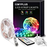 LED Strips Lights 5M, MYPLUS RGB Lights Strip with 44-Key Remote Colour Changing, Safety 24V Power Supply SMD 5050 Mood Light