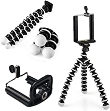 Mobile Tripod with Holder - Universal Flexible Octopus Rotatable Small Tripod for Mobile, Action Camera with Mobile Holder Clip Bracket Holder by Smart Petal (Black & White)