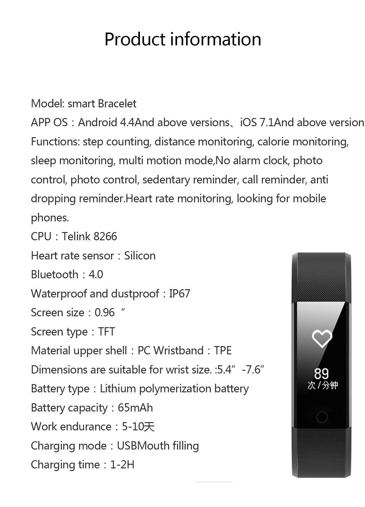 MENGZHEN 1 UNID ID115 Plus Monitor de Actividad del Ritmo cardíaco Pantalla táctil Usable Podómetro Bluetooth Pulsera Inteligente con Monitor de sueño 7