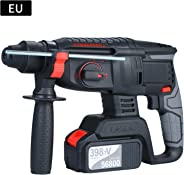 Walmeck Hammer Drill,21V Brushless Heavy Duty 4 Function Rotary Hammer Drill 1 Inch SDS-plus Adjustabl Grip Handle 980 RPM Co
