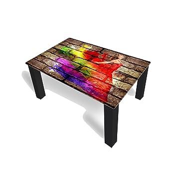 Couchtisch Von DekoGlas Graffiti Rot 45cm Hoch Tisch Mit Glasplatte 90x55cm Beistelltisch Glastisch Kaffeetisch Teetisch Wohnzimmertisch Amazonde Kche