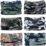 YouGa Headwear Headbands 6PCS Multifunctional Bandana Wide Seamless Magic Scarf Tube Scarf UV Insect Shield Sport Men Women U