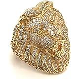 Anello da uomo con testa di leone in oro 9 carati, con zirconia cubica 375, con marchio originale, in confezione regalo, misu