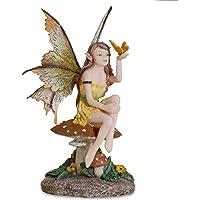 Les Alpes Fata con Farfalla Seduta su Un Fungo, Collezione Amy Brown, Altezza 20 cm - Statuetta Figura Dipinta a Mano…