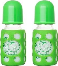 NAUGHTY KIDZ PREMIUMWARMER Glass Bottle with Ultrasoft LSR Nipple||Silicone Bottle Warmer||Key TEETHER||Hood RETAINING Cap and Sealing DISC RING-120ML+120ML (Green+Green)