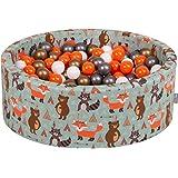 KiddyMoon balliv 90 x 30 cm/300 bollar 3 cm bollar pool med färgglada bollar för spädbarn barn runt, rävgrön: orange-silver-g