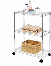 Callas Height Adjustable 3-Tier Shelving Units Storage Rack with Wheels and Leveling Feet, Chrome