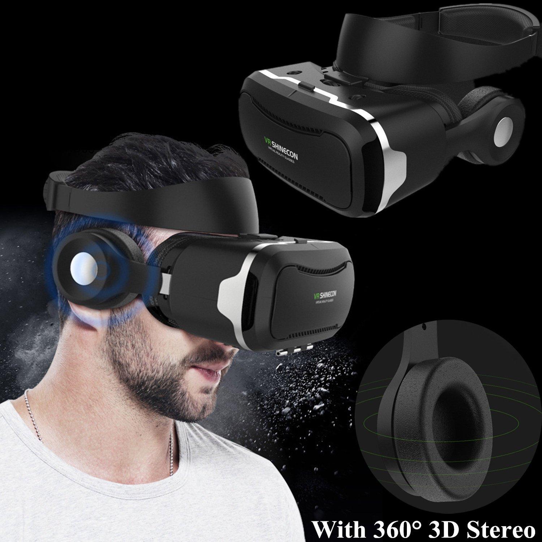 Casque de réalité virtuelle 3D Bevifi VR avec télécommande rechargeable et écouteurs Bluetooth ED intégrés – Pour Android/IOS 4,5-6,0″ et Samsung Galaxy S7 Edge S6, iPhone 7 6 6S Plus etc