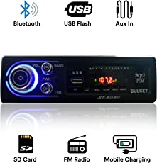 Dulcet DC-ST-8080 Fixed Panel Single Din MP3 Bluetooth/USB/FM/AUX/MMC Car Stereo with  Premium 3.5mm AUX Cable